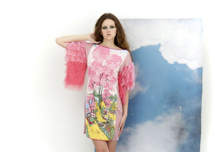 only for order Pastel pink ombre SHEATH DRESS with by NATIPUREIDEA