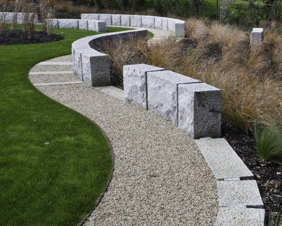 this is really interesting, with formed concrete seating as visual anchors as well as practical use