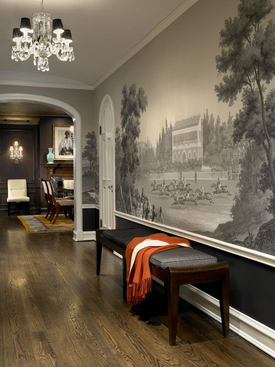 Yes, of course, its grisaille  again.... Fantastic mural and colour scheme inspiration. Design by Morgante-Wilson Architects.