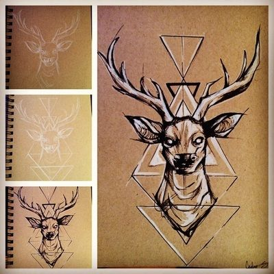 My step by step process of drawing a stag with some tribal pattern -- tan sketch paper, white gel pen, black ink pen, and white colored pencil 7/18/14