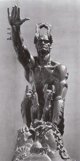 """""""Remussolini"""" Stanisław Szukalski 1932 Mussolini depicted as an allegory of Capitoline Wolf."""