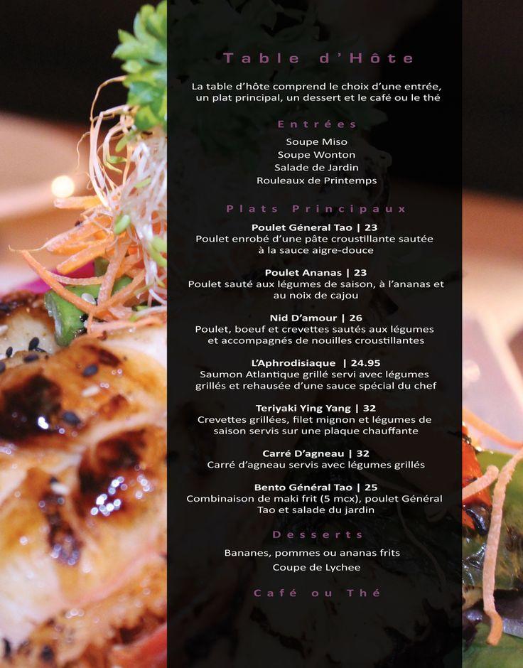 Kenso Sushi Bar- Menu Table d'Hote