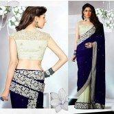 designer-blue-cream-velvet-net-fabric-saree
