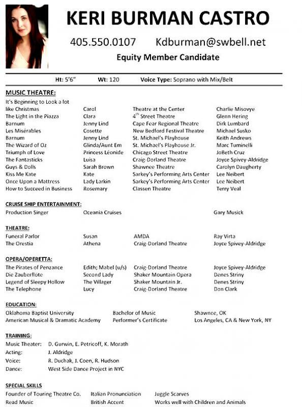 Theatre Resume Template Acting Resume Template Acting