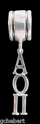 Alpha Omicron Pi Dangle Greek Letter Big Hole Euro Bead .925 Sterling Silver NEW