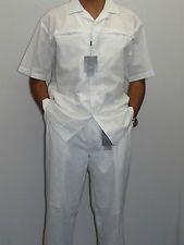steve harvey leisure suit | Men's STEVE HARVEY White Linen Two Piece Leisure Suit Slacks Shirt Set ...