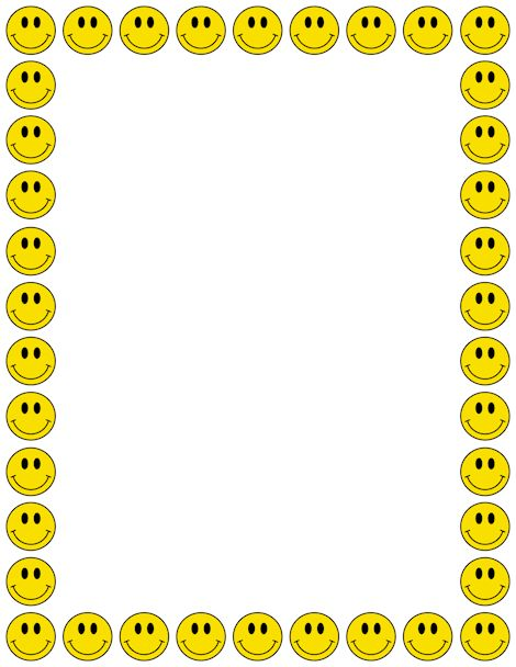 A smiley face page border. Free downloads at http://pageborders.org/download/smiley-face-border/