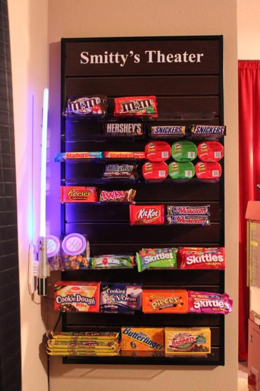 Home Theater Accessories This would be cute for a reward system on Fridays. Earn fake money during week for good behavior and can spend on snacks from our home stash of movie theatre snacks! Friday night movie Carista night at home. :]