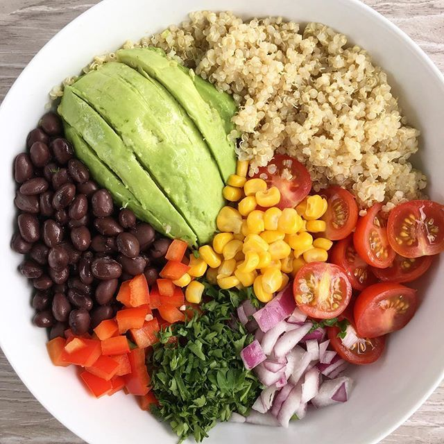 Taco Tuesday inspired Buddha Bowl for the win tonight! Started with Quinoa and added Avocado, Black Beans, Corn, Tomatoes, Red Onions, Red Pepper, Parsley & a splash of Rice Wine Vinegar.
