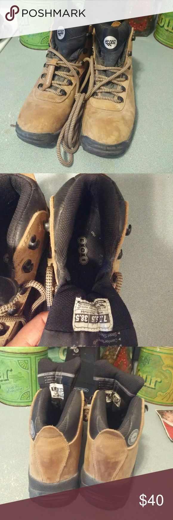Hi-Tec Tan / Black waterproof hiking boots. Sz 7.5 Hi-Tec Tan / Black waterproof Altitude hiking boots. Sz 7.5  Waterproof, steel shank, worn once. Too tight on my baby piggy toes. Very good shape. Hi-Tec Shoes Ankle Boots & Booties