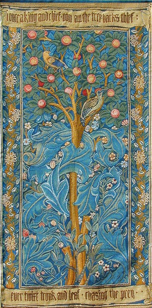 """The inscription on the original Woodpecker Tapestry was embroidered by May Morris (Morris' daughter), and reads """"I once a king and chief, now am the tree-barks thief, ever twixt trunk and leaf, chasing the prey"""" The quotation was taken from a poem by William Morris about an ancient fabled Italian king named Picas who was transformed into a woodpecker."""