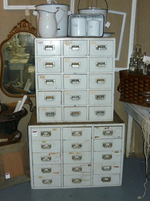 Vintage, metal workshop drawers
