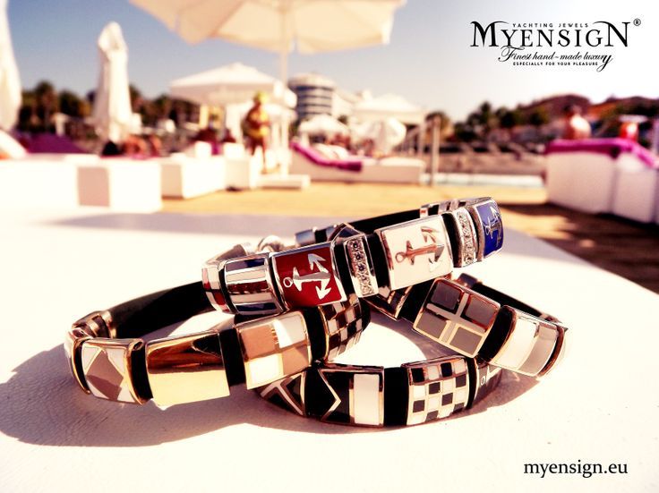 MyEnsign Original, Chocolate and Monochrome Bracelets in yellow and white gold.. www.myensign.eu
