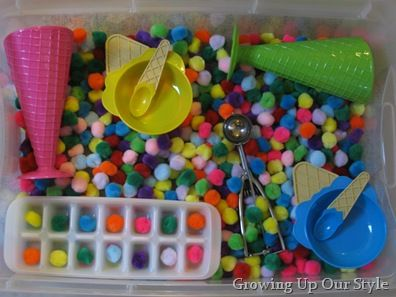 Ice cream shop sensory bin: Big hit. Found everything except the scoop at Dollar Tree. Good for working on colors, numbers, etc.