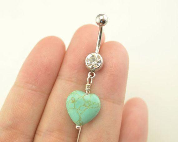 la mise en forme de nombril piercing, anneau de ventre nombril Bijoux turquoise…