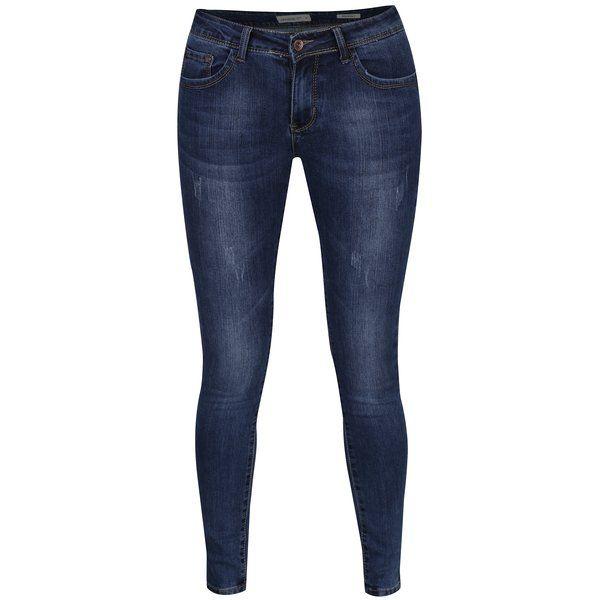 Blugi regular albaștri cu talie medie și aspect prespălat – Haily´s Dory