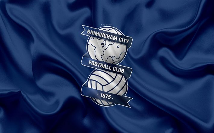 Download wallpapers Birmingham City FC, silk flag, emblem, logo, 4k, Birmingham, England, UK, English football club, Football League Championship, Second League, football