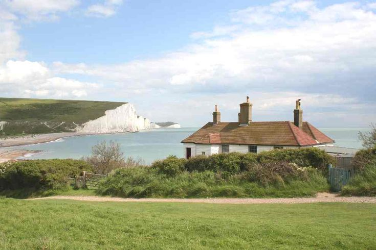 the old coastguard cottages viewed from Seaford Head .. East Sussex
