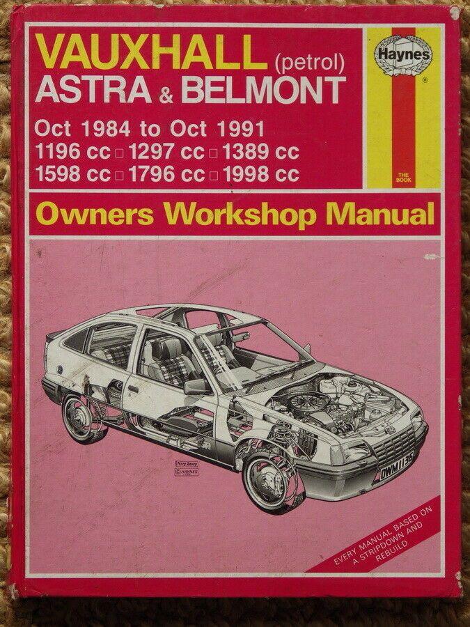 Vauxhall Belmont Amp Astra 1984 91 Haynes Car Manual Manual Car Vauxhall Manual