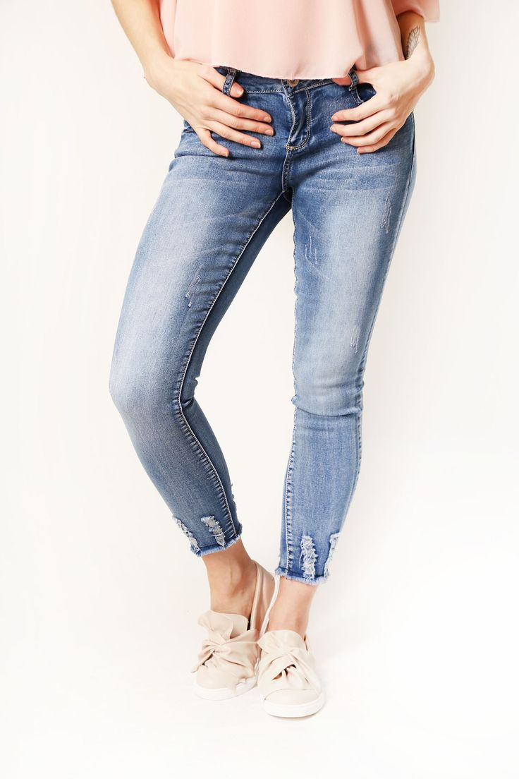 Blue Distressed Hem Jeans