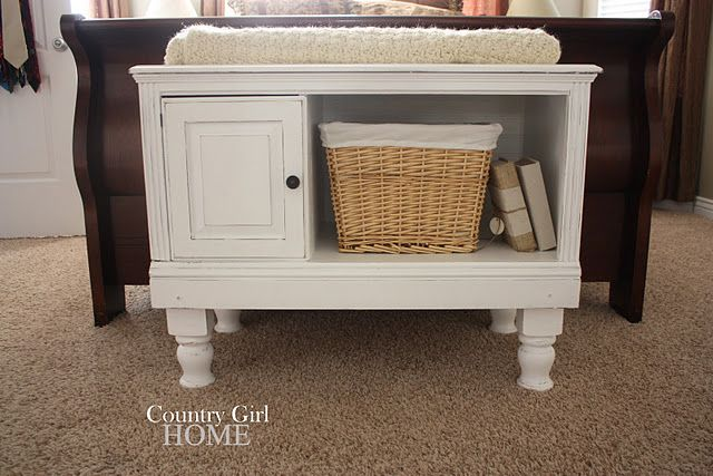 Old entertainment center and legs from old coffee table turned end of bed storage cabinet - Table at the end of the bed ...