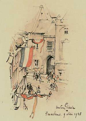 n May 9, 1945 Anton Pieck climbed the great St Bavo in Haarlem and made ​​this drawing. To see the 13th century cloister, now the town hall of Haarlem.