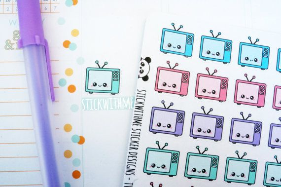 Television tv PLANNER STICKERS SWM43 by STICKWITHMEshop on Etsy