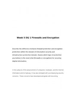 Week 5 DQ 1 Firewalls and Encryption    Describe the difference between firewall protection and encryption protection within the domain of information security and infrastructure protection domain. Assess which type of protection you believe is the most vital (firewalls or encryption) for securing digital information.
