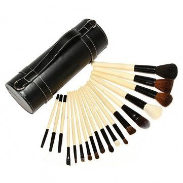 18pcs Pro Portable Makeup Cosmetic Brush Set Cylinder Pouch Leather Case by aroundtheworldproduct. $46.99. 18 brushes   High hair density suitable for powder and minerals makeup  Soft hair and comfortable for use, perfectly studio and personal use.  All brushes come with plastic wraps