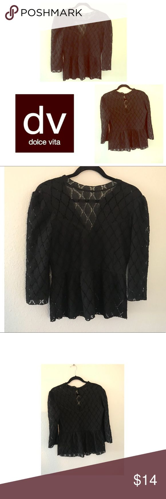 """Black Peplum Lace Sexy Vintage Blouse Top I'm good condition! This top fits amazing! Super Slimming. DV Dolce Vita Brand. Black lace Peplum sheer sexy 3/4 Sleeve High Neck Victorian Vintage Blouse Top Shirt. Perfect for date night. Looks good with or without a shirt underneath it. Length is about 23"""" from shoulder to bottom. Bust is about 17"""" wide. Top rated seller, fast shipping, bundle for the best deals! DV by Dolce Vita Tops Blouses"""