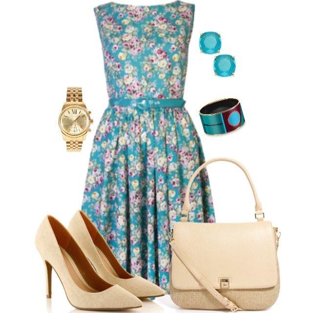 Floral blue dress w/nude pumps