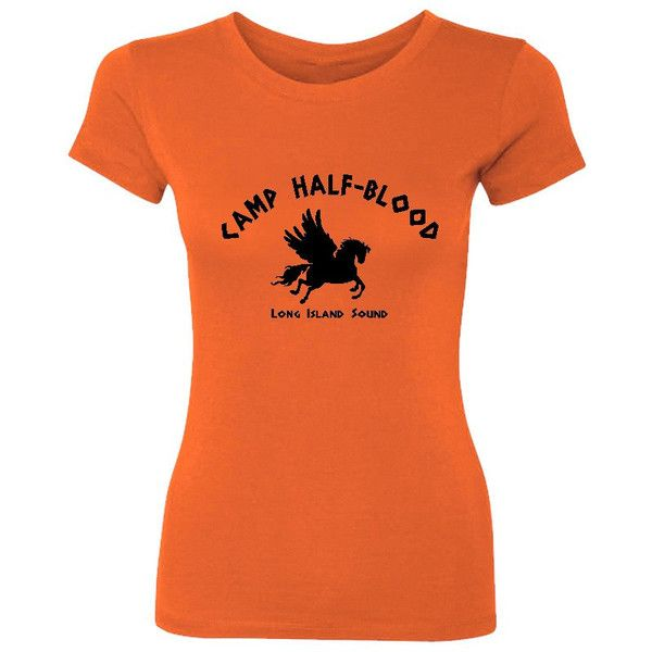 Camp Half-Blood Women's T-Shirt ($5.99) ❤ liked on Polyvore featuring tops, t-shirts, shirts, percy jackson, orange, women's clothing, cotton shirts, pattern shirts, orange tee and american flag tee