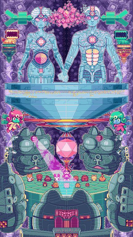 Easily one of my favorite pixel artists, Paul Robertson.  Les gifs animés complexes et acidulés de Paul Robertson