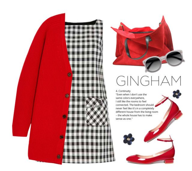 """Gingham Dress"" by vinograd24 ❤ liked on Polyvore featuring Dorothy Perkins, Chloé, Ace, Valentino, gingham and ginghamdress"