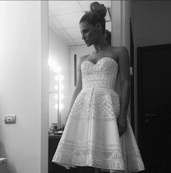 "Stunning Michelle Hunziker wears Ermanno Scervino FW 2015-16 satin dress with velvet embroidery on the Italian TV program ""Striscia La Notizia"" #ScervinoCelebs #ErmannoScervino #MichelleHunziker Regram @therealhunzigram"