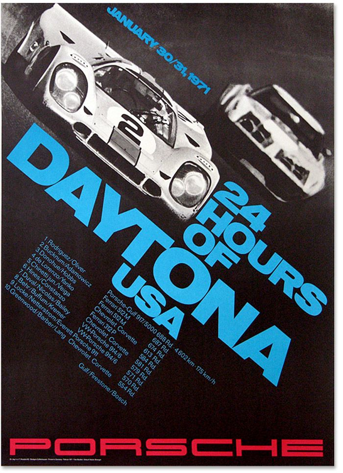 24 Hours of Daytona (1971) :: Porsche Poster