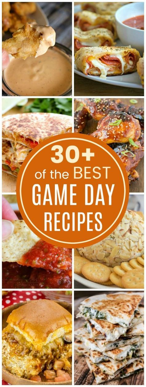The Best Game Day Recipes - over 30 recipes for snacks, dips, nachos, wings and more for all of your football and tailgate party menus.