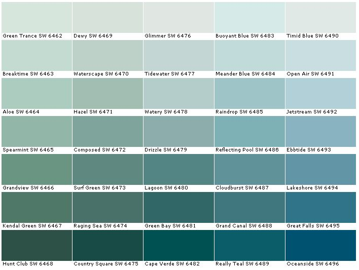 Sherwin Williams Sw6462 Green Trance Sw6463 Breaktime Sw6464 Aloe Sw6465 Spearmint Sw6466 Grandview Sw6467 Kendal Sw6468 Hu Color Combinations In