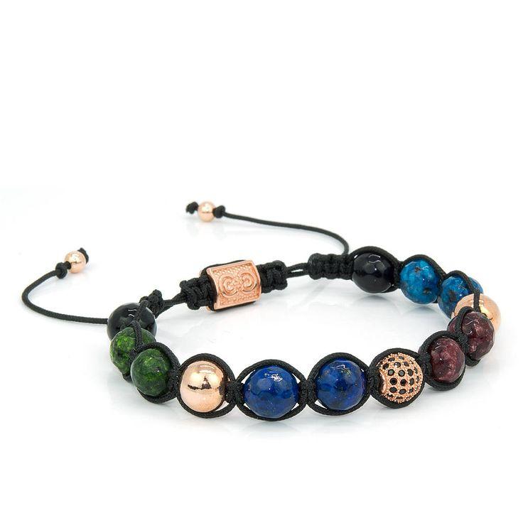 VENICE | Unisex Shamballa Bracelet, Rose Gold, 925 Sterling Silver, Cubic Zirconia, Beaded Macrame Bracelet, Gift for Men, Anniversary Gift