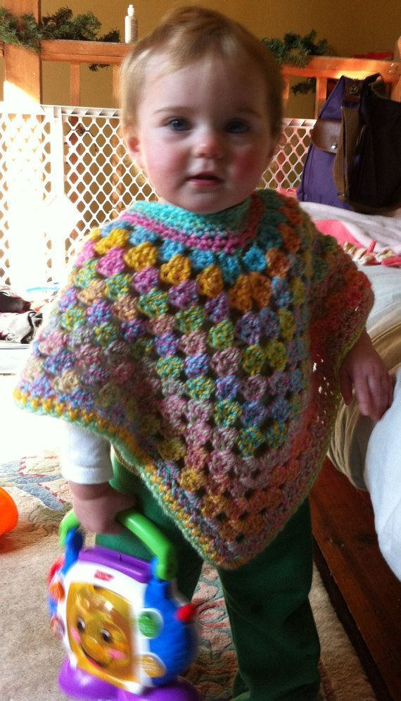 Shawl - Poncho - Old School Style with Modern Design- Toddler & Child Sizes - Spring/Summer Wrap - Crochet