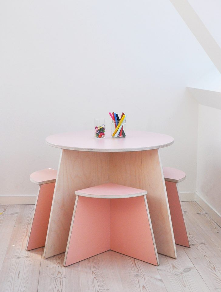 This snug play table is ideal for placing in a corner of any room in your home. So if space is limited, this could be the style for you. Of course, we love it for so many more reasons – the soft pink, it fits 4 kids so there's plenty of room for siblings plus a friend each and the design is so cool too! http://petitandsmall.com/cutest-toddler-play-table/