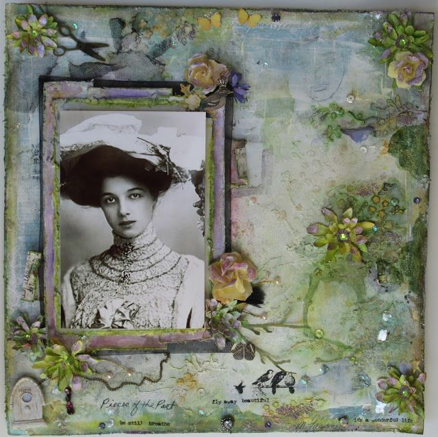 Scraps of Darkness and Scraps of Elegance scrapbook kits: Vintage style mixed media layout by Melissa Larson, using our September kit.