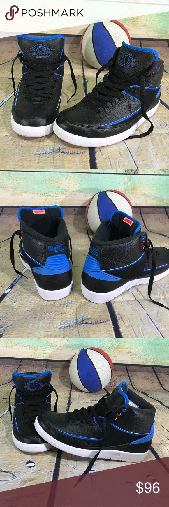 "Nike Air Jordan Retro 2 II Radio Raheem Size 8 NIKE Air Jordan Retro 2 II ""Radio Raheem"" Black - Photo Blue - White - Fire Pink model# 834274-014     Men's size 8 basketball shoes.   Excellent condition!  Minimal wear - court use only. Bottoms are clean. Sides are WHITE.  Minimal amount of pilling on the fabric inside at the heal and the insole.  Everything else about these shoes is immaculate.  Fresh! Jordan Shoes Athletic Shoes"