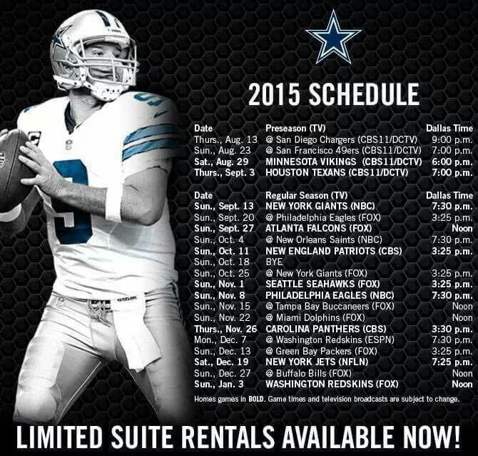 2015 Cowboys Schedule