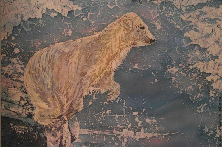 Купить Земля медведей - синий, Батик, атлас, ледник, белый медведь, животные, пейзаж