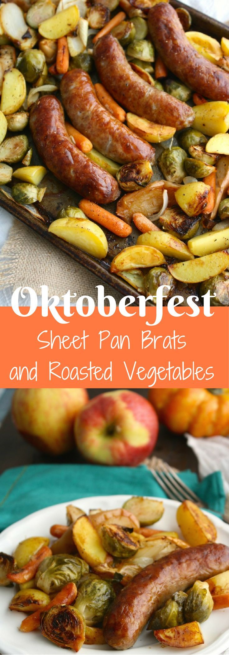 Get ready for your favorite fall foods: Oktoberfest Sheet Pan Brats with Vegetables is tasty, filling, and so easy to make!