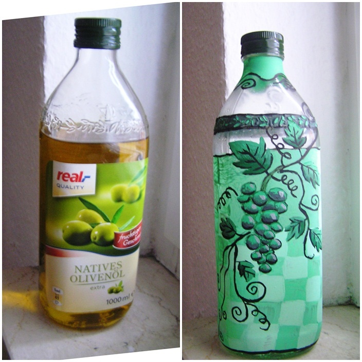 olive oil bottle with wine
