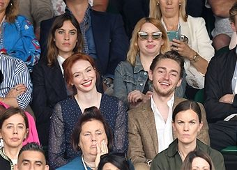 Alexa Chung, Eleanor Tomlinson and brother Ross Tomlinson attend day twelve of the Wimbledon Tennis Championships at the All England Lawn Tennis and Croquet Club on July 15, 2017 in London, United Kingdom.
