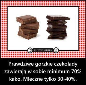 Prawdziwe gorzkie czekolady zawierają 70% kako - mleczne tylko 30-40%