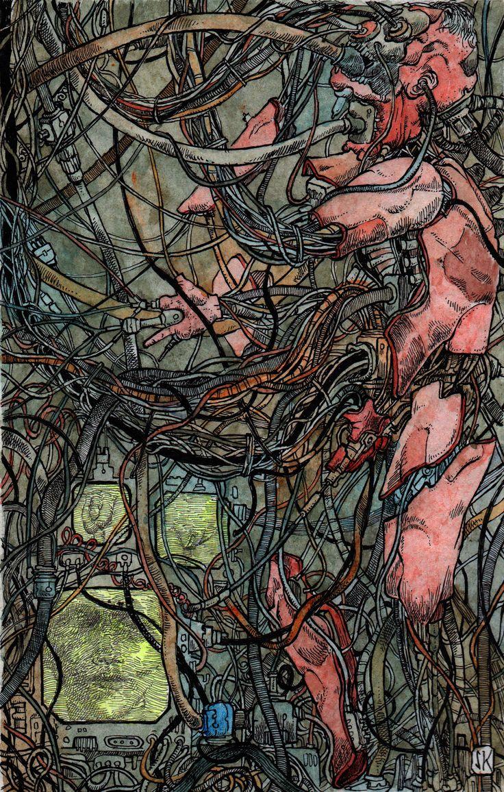 Bastian Kupfer's Neuromancer, by William Gibson (2017). #bastiankupfer #sci-fi #cyberpunk #neuromancer #williamgibson #dystopia #gender #sex #unconscious #illustration #art #fabulantes